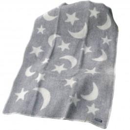Ullfilt Måne och stjärna Grå-Vit 90x130 cm